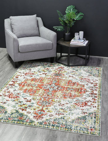 Madison Red Distressed Medallion Traitional Rug
