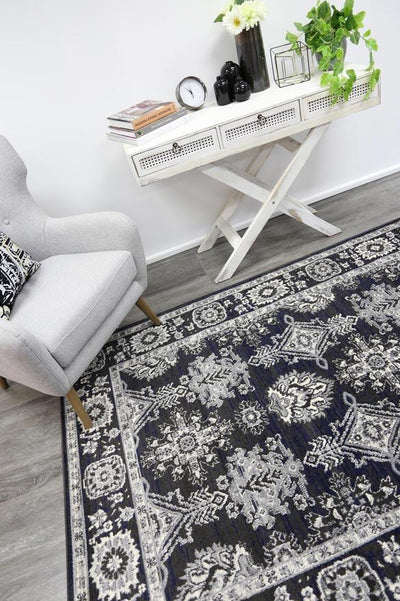 Arya Navy Blue and Grey Ziegler Traditional Ikat Rug - Buyrug - Online Rug Buy Store