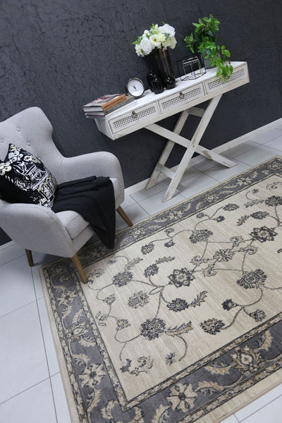 Arya Cream and Grey Traditional Rug - Buyrug - Online Rug Buy Store