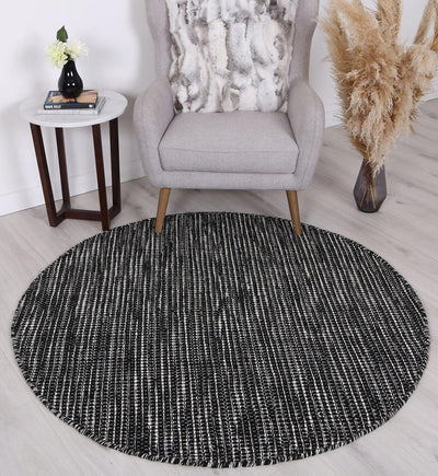 Scandi Black & White Reversible Wool Round Rug