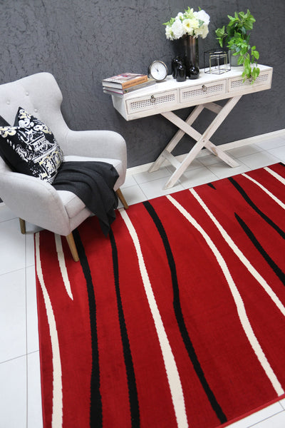 Dash Red Modern Abstract Stripes Rug - Buyrug - Online Rug Buy Store