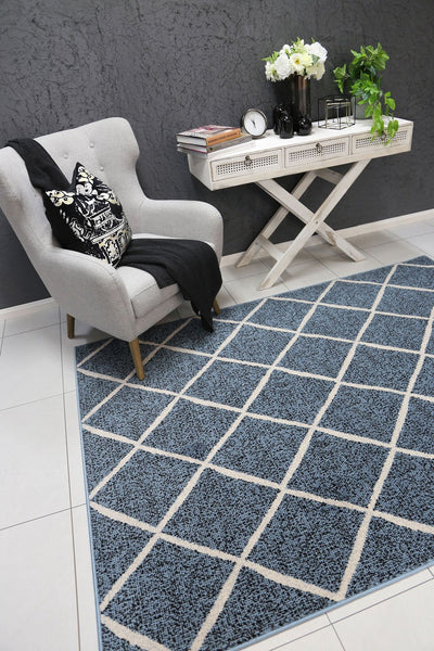 Dash Blue and Cream Cross Diamond Rug - Buyrug - Online Rug Buy Store