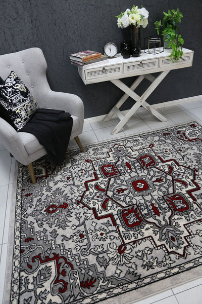 Dash Red and Gray Distressed Vintage Rug - Buyrug - Online Rug Buy Store