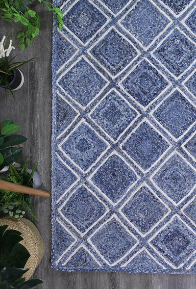 Artisan Blue Natural Parquetry Rug - Buyrug - Online Rug Buy Store
