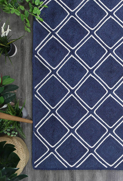 Artisan Navy Blue Natural Parquetry Rug - Buyrug - Online Rug Buy Store