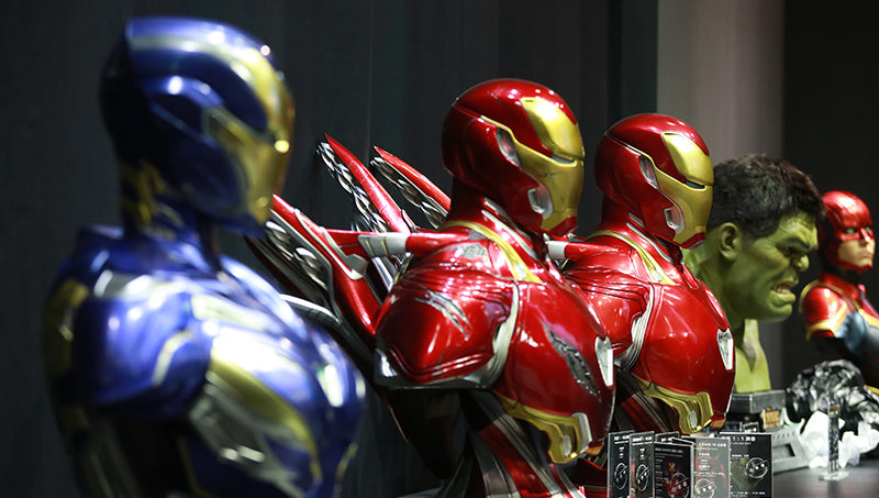 Iron Man Mark 49 and Queen Studios Iron Man busts