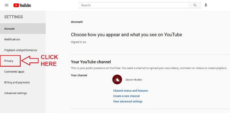 Privacy Settings to make profile visible YouTube
