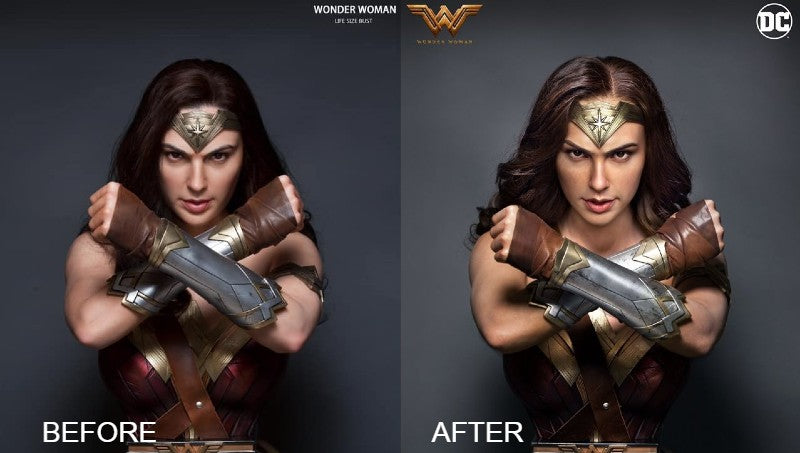 Queen Studios Wonder Woman Bust Before and After