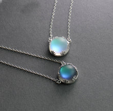 Load image into Gallery viewer, Aurora Silver Necklace Halo Crystal Gemstone or Light Forest