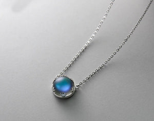 Aurora Silver Necklace Halo Crystal Gemstone or Light Forest