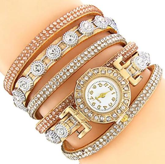 <B>DIAMONDS CIRCLE</B> | Orologio braccialetto per donna e ragazza colore <B>AVANA</B> (<I>Woman and girl bracelet watch LIGHT BROWN</I>)