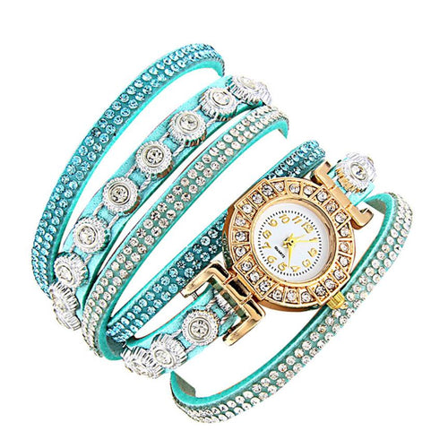 <B>DIAMONDS CIRCLE</B> | Orologio braccialetto per donna e ragazza colore <B>CELESTE</B> (<I>Woman and girl bracelet watch LIGHT BLUE</I>)