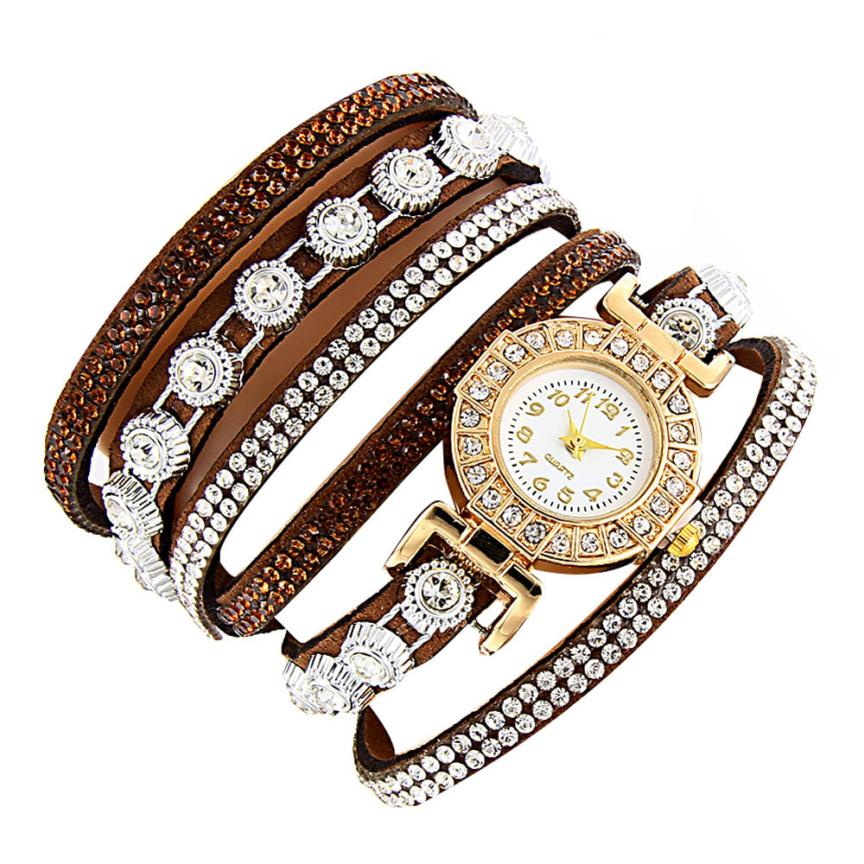 <B>DIAMONDS CIRCLE</B> | Orologio braccialetto per donna e ragazza colore <B>MARRONE</B> (<I>Woman and girl bracelet watch BROWN</I>)