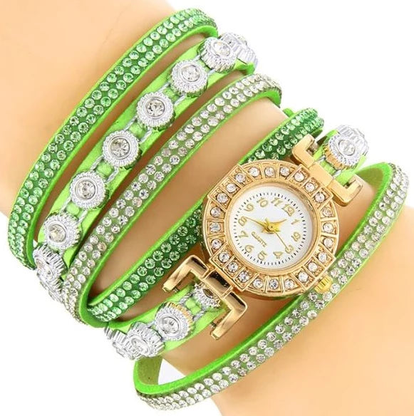 <B>DIAMONDS CIRCLE</B> | Orologio braccialetto per donna e ragazza colore <B>VERDE</B> (<I>Woman and girl bracelet watch GREEN</I>)