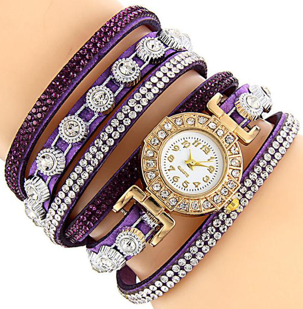 <B>DIAMONDS CIRCLE</B> | Orologio braccialetto per donna e ragazza colore <B>VIOLETTO</B> (<I>Woman and girl bracelet watch VIOLET</I>)