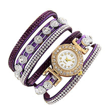Carica l'immagine nel visualizzatore di Gallery, <B>DIAMONDS CIRCLE</B> | Orologio braccialetto per donna e ragazza colore <B>VIOLETTO</B> (<I>Woman and girl bracelet watch VIOLET</I>) (Load image into Gallery viewer, <B>DIAMONDS CIRCLE</B> | Orologio braccialetto per donna e ragazza colore <B>VIOLETTO</B> (<I>Woman and girl bracelet watch VIOLET</I>))