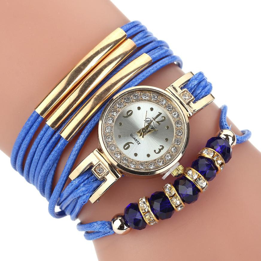 <B>BEADS LACES</B> | Orologio braccialetto per donna e ragazza colore <B>BLU</B> (<I>Woman and girl bracelet watch BLUE</I>)
