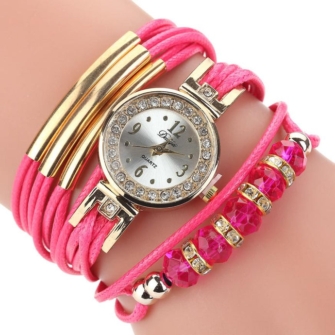<B>BEADS LACES</B> | Orologio braccialetto per donna e ragazza colore <B>FUCSIA</B> (<I>Woman and girl bracelet watch FUCHSIA</I>)