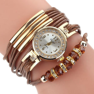 <B>BEADS LACES</B> | Orologio braccialetto per donna e ragazza colore <B>MARRONE</B> (<I>Woman and girl bracelet watch BROWN</I>)