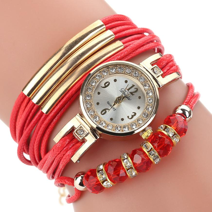 <B>BEADS LACES</B> | Orologio braccialetto per donna e ragazza colore <B>ROSSO</B> (<I>Woman and girl bracelet watch RED</I>)