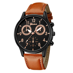 <B>BUSYMAN BASIC</B> | Orologio uomo quadrante <B>NERO</B> scritte <B>ORO</B> cinturino <B>MARRONE</B> (<I>Man watch BLACK dial GOLD writings BROWN strap</I>)