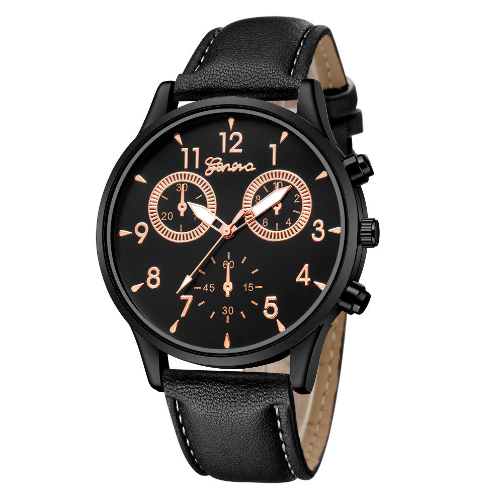 <B>BUSYMAN BASIC</B> | Orologio uomo quadrante <B>NERO</B> scritte <B>ORO</B> cinturino <B>NERO</B> (<I>Man watch BLACK dial GOLD writings BROWN strap</I>)