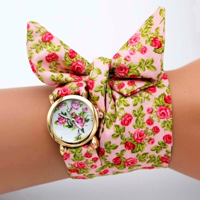 -20% non in stock: <B>FLOFLOWER</B> | Orologio FOULARD a trama floreale in stoffa per donna e ragazza trama <B>XH01</B> (<I>Floral-weaved FOULARD watch made of cloth for women and girls plot XH01</I>)