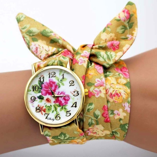 -20% non in stock: <B>FLOFLOWER</B> | Orologio FOULARD a trama floreale in stoffa per donna e ragazza trama <B>QJ03</B> (<I>Floral-weaved FOULARD watch made of cloth for women and girls plot QJ03</I>)