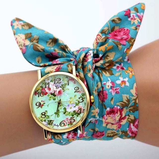 -20% non in stock: <B>FLOFLOWER</B> | Orologio FOULARD a trama floreale in stoffa per donna e ragazza trama <B>QJ04</B> (<I>Floral-weaved FOULARD watch made of cloth for women and girls plot QJ04</I>)