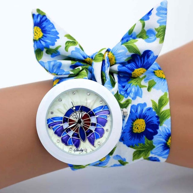-20% non in stock: <B>FLOFLOWER</B> | Orologio FOULARD a trama floreale in stoffa per donna e ragazza trama <B>BY07</B> (<I>Floral-weaved FOULARD watch made of cloth for women and girls plot BY07</I>)