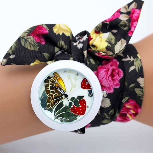 -20% non in stock: <B>FLOFLOWER</B> | Orologio FOULARD a trama floreale in stoffa per donna e ragazza trama <B>BY08</B> (<I>Floral-weaved FOULARD watch made of cloth for women and girls plot BY08</I>)