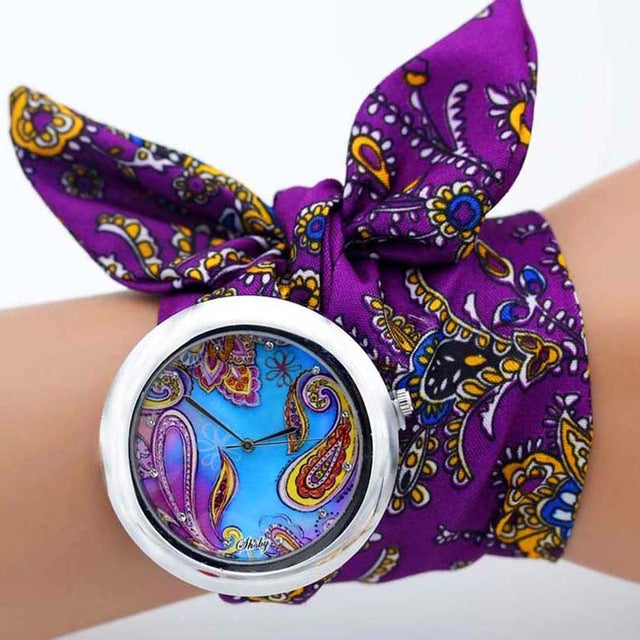 -20% non in stock: <B>FLOFLOWER</B> | Orologio FOULARD a trama floreale in stoffa per donna e ragazza trama <B>BG10</B> (<I>Floral-weaved FOULARD watch made of cloth for women and girls plot BG10</I>)