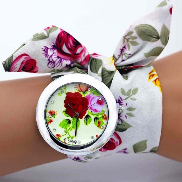 -20% non in stock: <B>FLOFLOWER</B> | Orologio FOULARD a trama floreale in stoffa per donna e ragazza trama <B>BG17</B> (<I>Floral-weaved FOULARD watch made of cloth for women and girls plot BG17</I>)