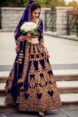 Navy blue Velvet diamond worked Embroidery Bridal Lehenga Choli