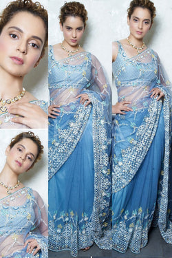 stylish Bollywood Designer net Saree with embroidery work of Kangana Ranaut