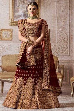 Pure Velvet Embroidery work Diamond Embellished Wedding Bridal Lehenga Choli