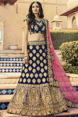 Navy Blue Velvet Bridal Lehenga Choli with Coding Embroidery work in USA for wedding wear
