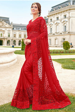 Wedding wear Designer Saree in Lovely Red Net With American Diamond Embellished