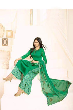 Bollywood Palazzo Suit Seagreen Georgette with Digital Printed Design