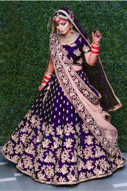 Bridal Lehenga Choli in Royal Magenta Velvet Silk with Codding Embroidery work