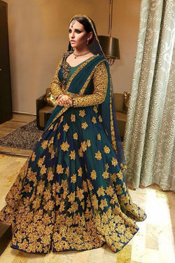 Wedding Wear Lehenga Choli Sea green Kerala silk with Codding Embroidery