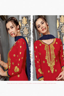 Pleasing Red Heavy stones embroidered work festive wear Palazzo