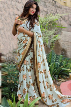 Charming Cyan Embroidered work Indian Designer Saree