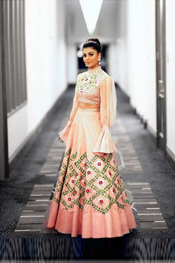 Beautiful Peach With Sequence Embroidered work Party Wear Lehenga Choli