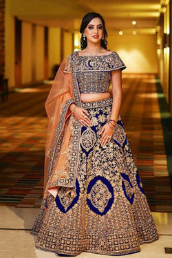 Royal Blue Heavy Banglori Silk with Golden Zari Work Designer Lehenga Choli