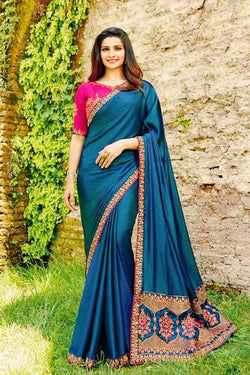 Beautiful Blue Sequence Embroidered work party wear Saree