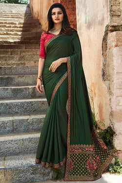 Delightful Green Sequence work Bollywood style Party wear Saree
