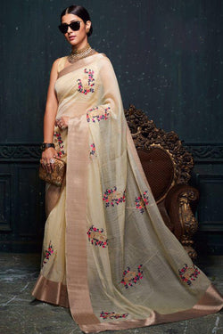 Winsome Wheat with Zari Embroidered Indian stylish Wedding wear Saree