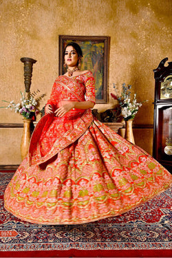 Wedding Reception Wear Lehanga Choli in Lovely Red Colour Banarasi Silk