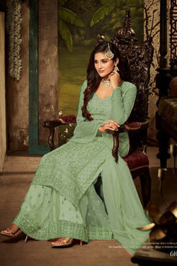 Lovely Embroidered Work Party Wear Salwar Kameez in Pale green